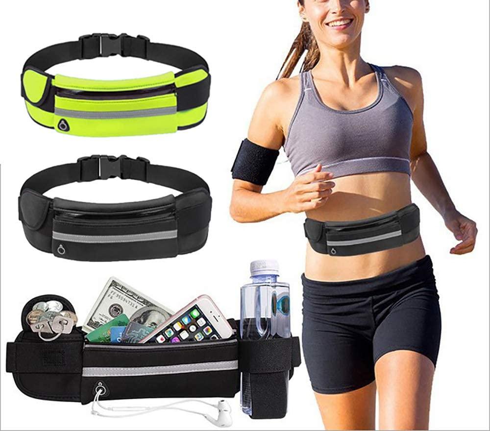 Snnetwork 2 Pack Running Belt for Women Men, Reflective Water Resistant Ultra Light Adjustable Fanny Packs for All Kinds of Phones, Belt Bag for Fitness, Workout, Jogging