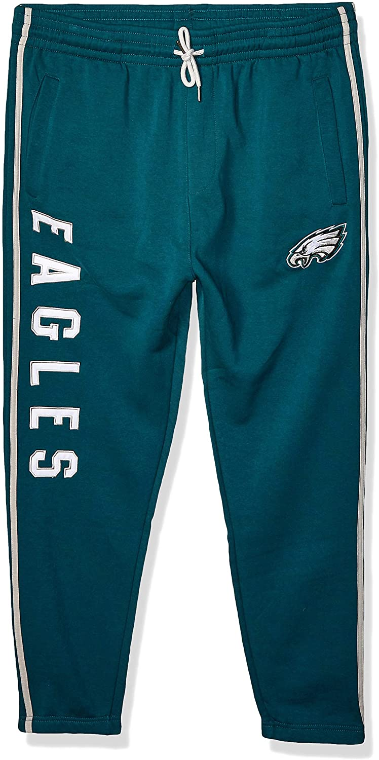 Ultra Game NFL Philadelphia Eagles Mens Jogger Pants Active Basic Fleece Sweatpants, Team Color Stripe, Small