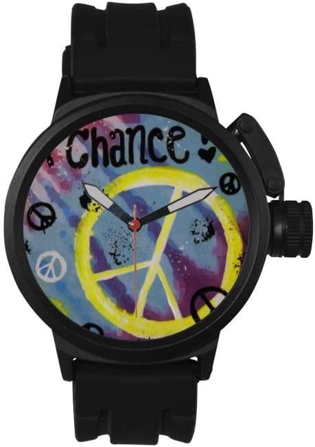 QUICKMUGS2U Anti-War Series Chance Word Men's Sports Analog Quartz Watch Large Face Wrist Business Casual Watch For Men Father