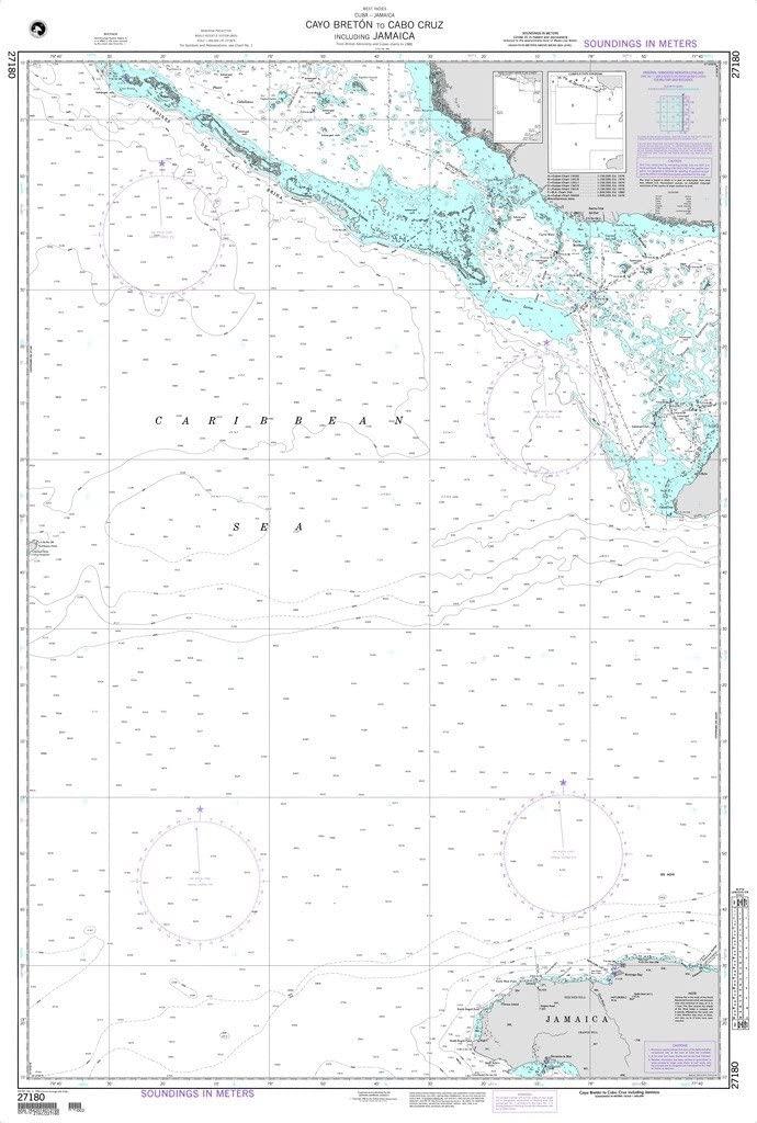 NGA Chart 27180: Cayo Breton to Cabo Cruz including Jamaica