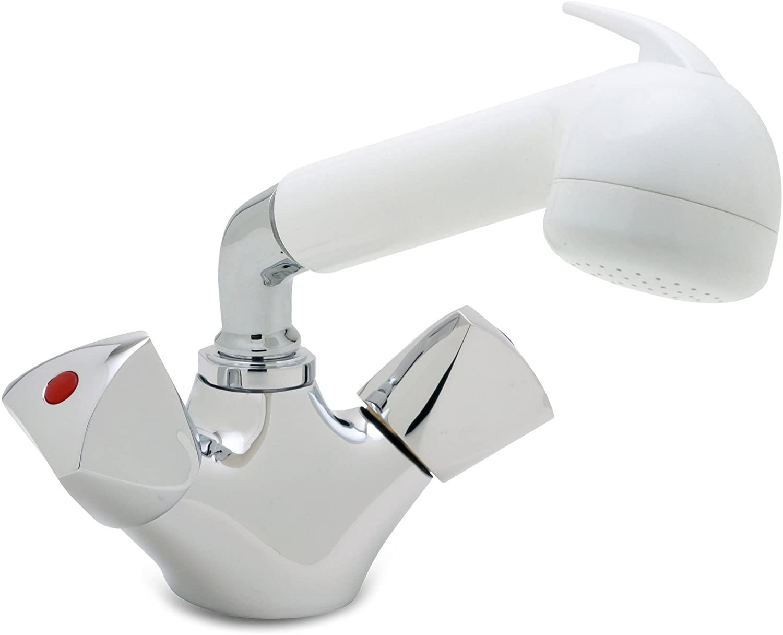 Ambassador Marine Trinidad- Head/Shower Combo Faucet (Large White Sprayer - No Hook, 6-Feet White Rubber Hose), Chrome/White