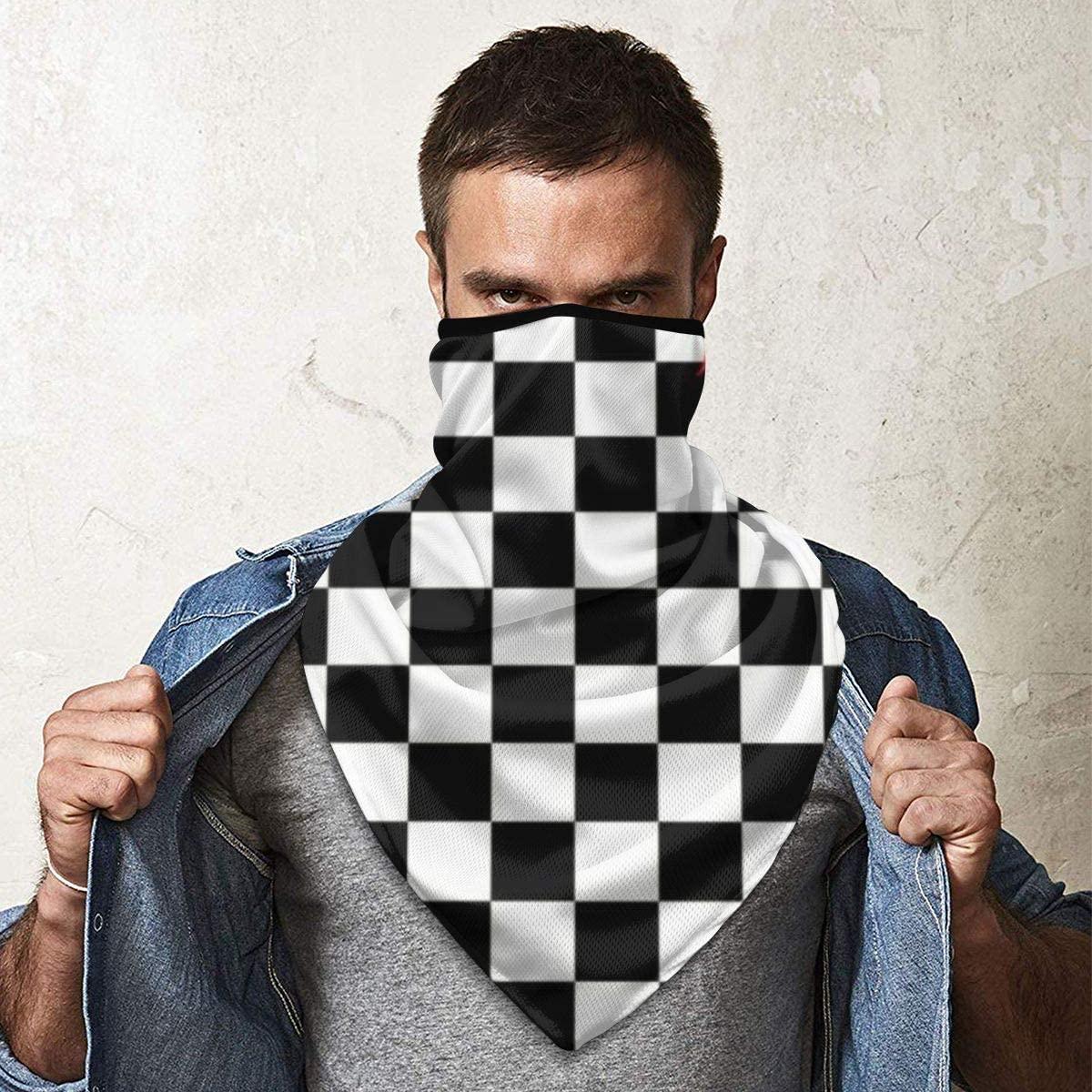 MoonStarDayUp Mens Womens Windproof Sports Face Mask Fire Chess Board Magic Headwear Headscarf Bandanas Motorcycle Headbands Multifunctional Tube Scarf Neck Gaiter Helmet for Fishing