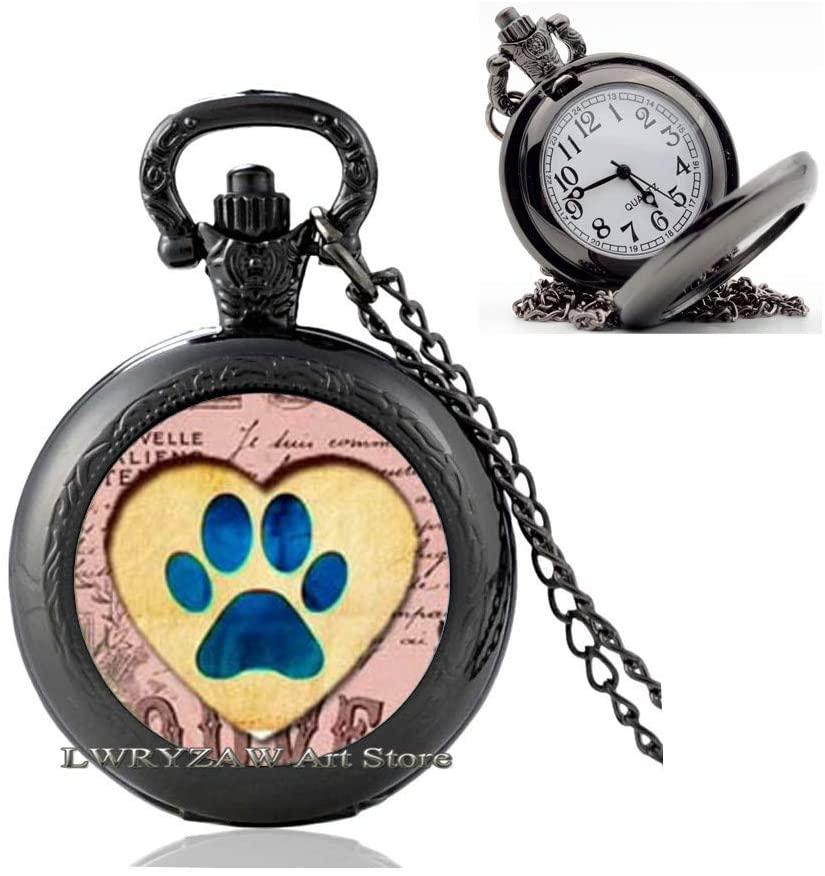 Paw Print Pocket Watch Necklace, Paw Print Jewelry, Dog Paw Pocket Watch Necklace, Paw Print Jewelry, Pet Jewelry, Dog Lover,M231