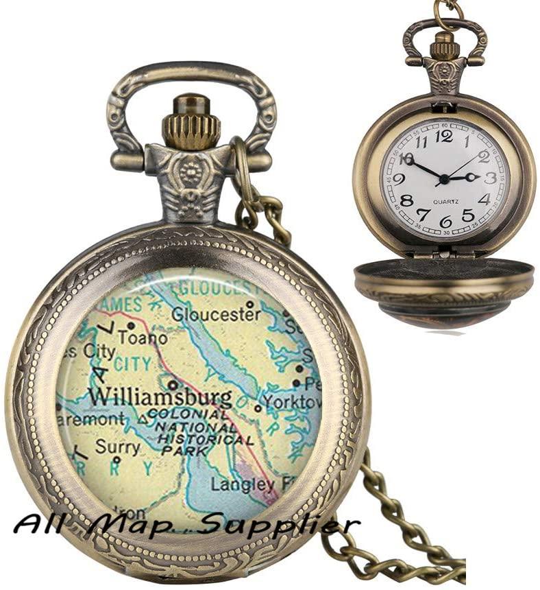AllMapsupplier Fashion Pocket Watch Necklace,Williamsburg,Virginia map Pendant,Williamsburg map Pocket Watch Necklace,Williamsburg Pendant map Jewelry,A0159