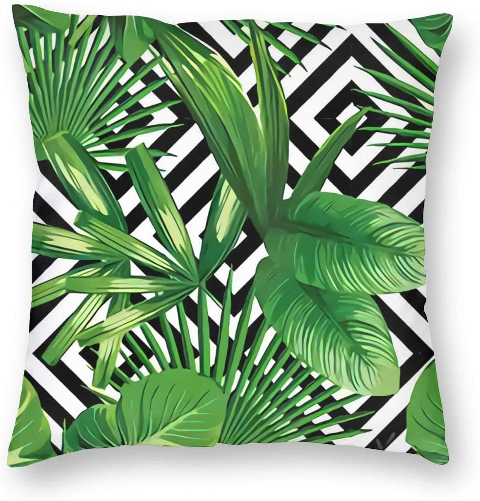 antkondnm Palm Pillow Case, Summer Exotic Jungle Plant Tropical Palm Leaves on The Geometric Velvet Cushion Cover Square Standard Home Decorative Throw Pillow 18x18 inch White Black Green