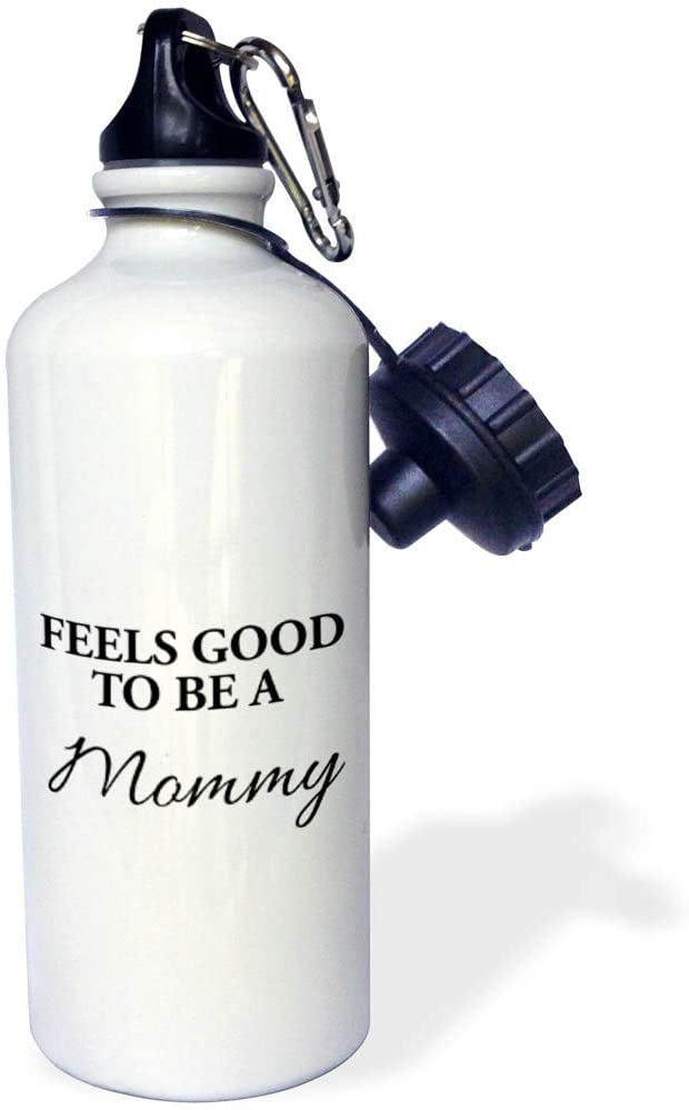 3dRose Stamp City - Typography - Feels Good to be a Mommy. Black Lettering on White Background. - 21 oz Sports Water Bottle (wb_321615_1)