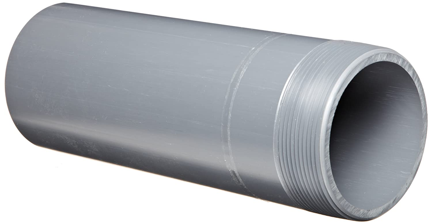 Spears 188N Series PVC Pipe Fitting, Nipple, Thread on One End, Schedule 80, Gray, 3/4