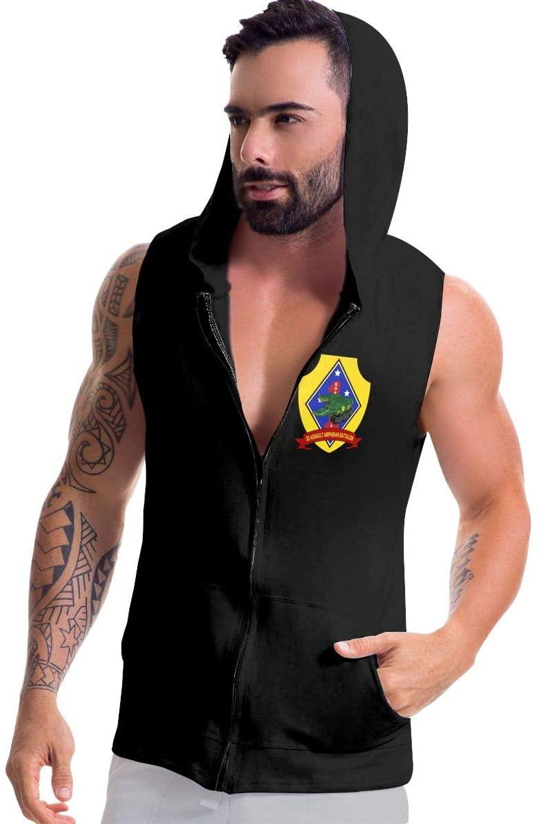 Jriakf 3rd Assault Amphibian Battalion Mens Sleeveless Pullover Hoodies Zip-up Hoodies Vest Muscle T with Pockets