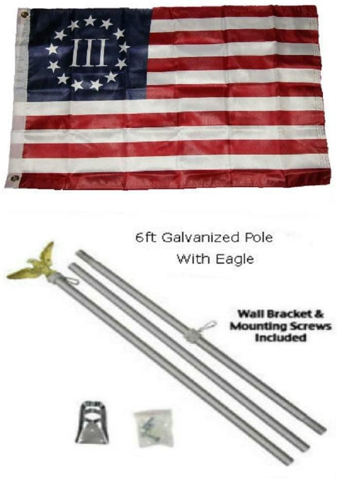 2x3 2x3 Betsy Ross Nyberg 3% III Flag Galvanized Pole Kit Eagle Top