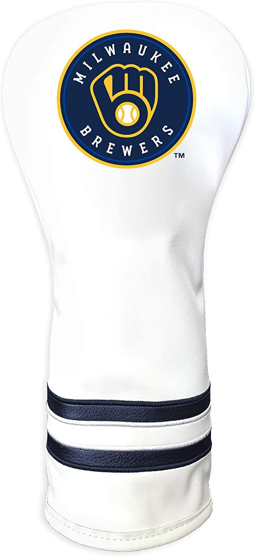 Team Golf MLB Milwaukee Brewers White Vintage Fairway Golf Club Headcover, Form Fitting Design, Retro Design & Superb Quality