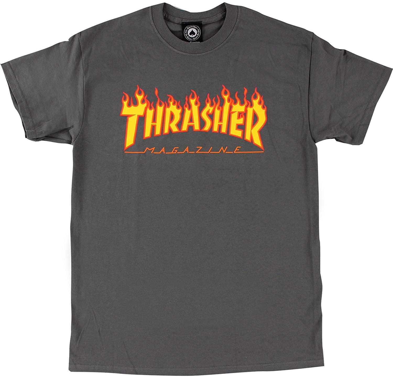 Thrasher Magazine Flame Grey T-Shirt - X-Larg