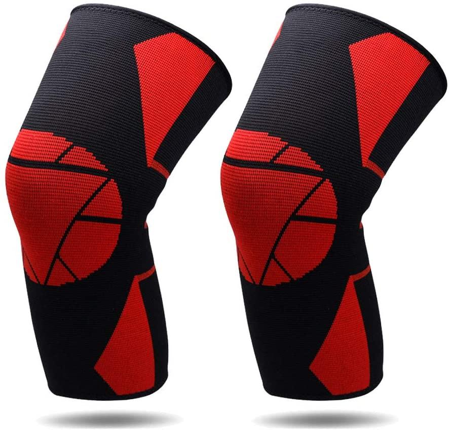 FANLI Knee Pads Knee Sleeve, 2 Pack Lightweight Elastic Breathable Unisex for Dance Tennis Ski Skating-red + Black XL