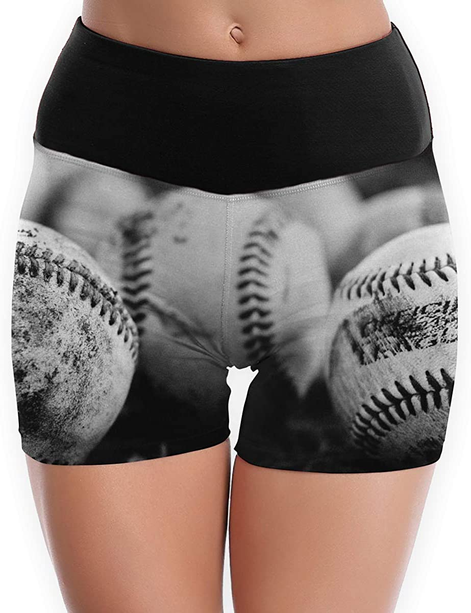 CHEERPEACETIME Yoga Shorts Pants Women American Baseball Sketch High Waist Stretch Leggings