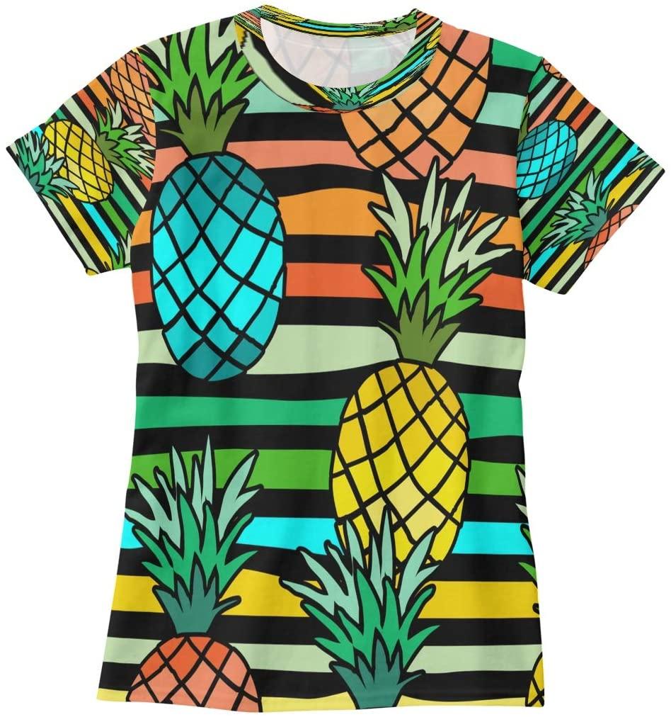 N /A Pineapple Seamless Pattern Womens T Shirts Graphic Tees Shirts Casual Summer Short Sleeve Tshirt