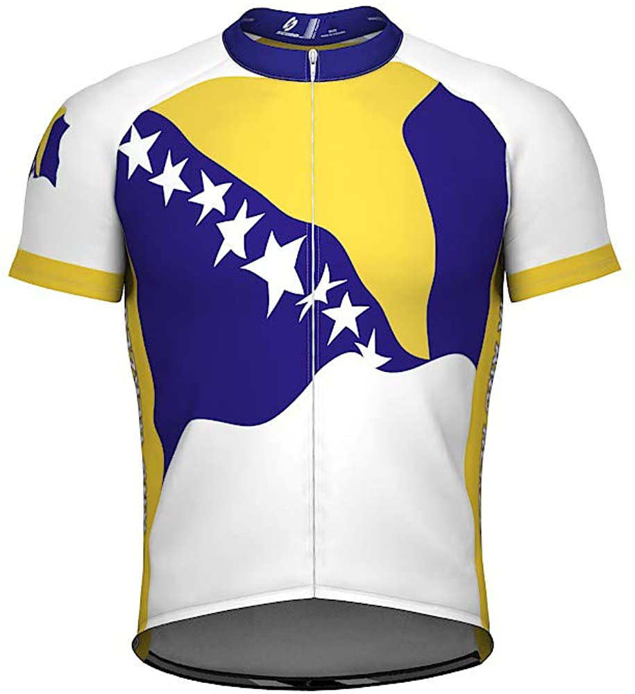 ScudoPro Bosnia and Herzegovina Emblem Full Zipper Bike Short Sleeve Cycling Jersey for Women