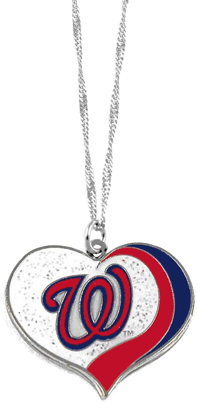 aminco Washington Nationals MLB Sports Team Logo Charm Gift Glitter Heart Necklace