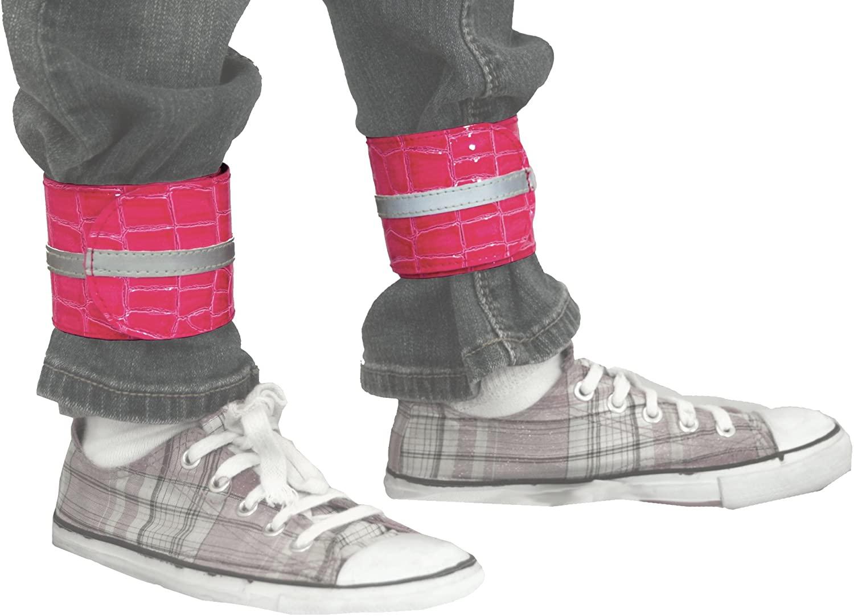 Slap & Wrap – Reflective Pant Leg Bands, pink