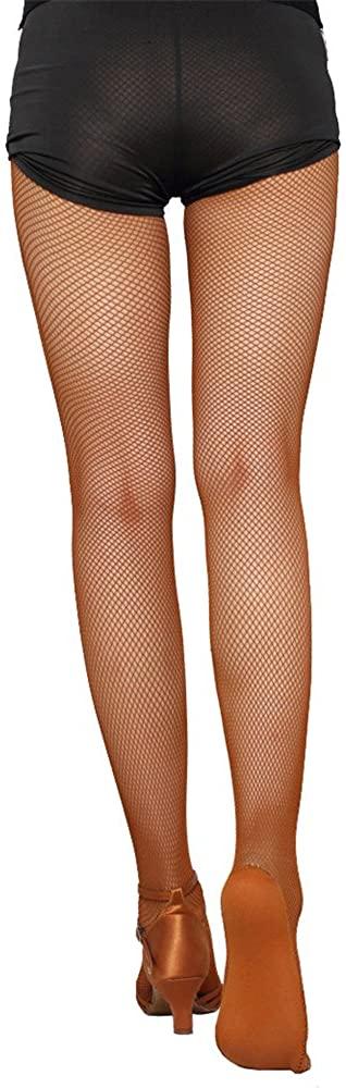 Missfiona Womens Professional Latin Fishnet Stocking Non-slip Cotton Sole Tango Dance Tights