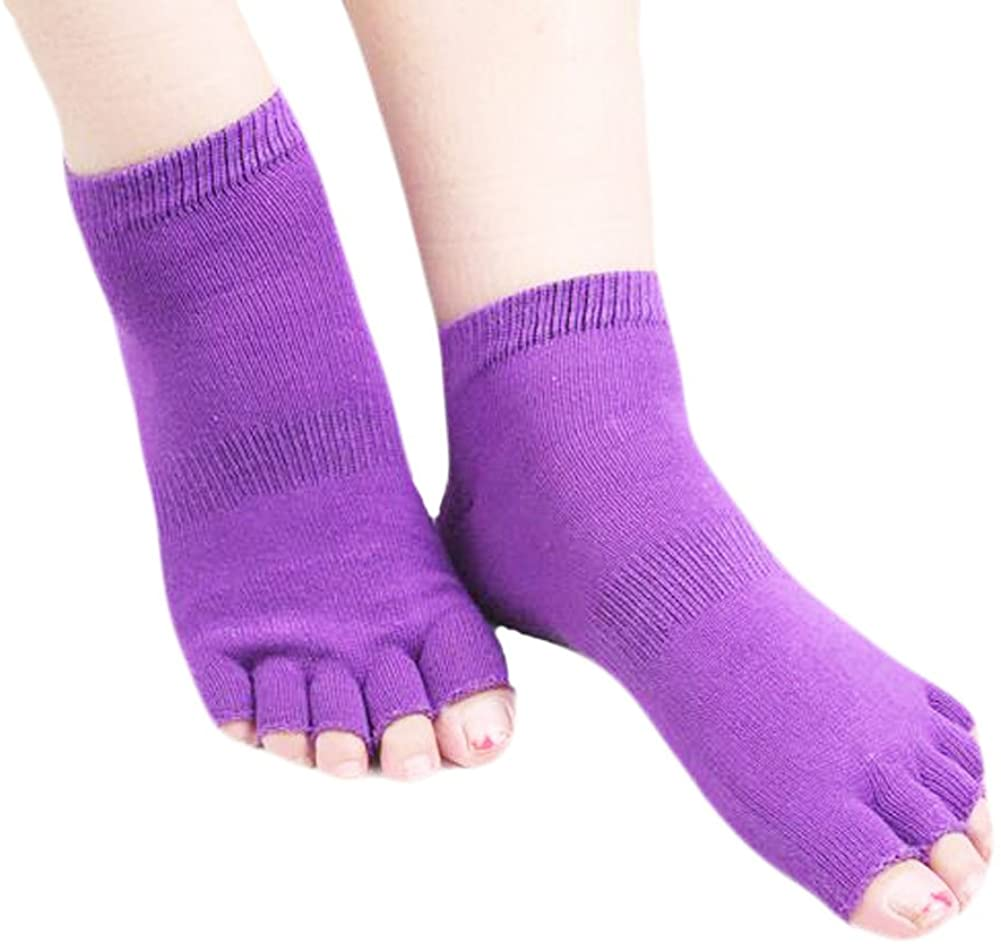 George Jimmy Cotton Toe Yoga Socks Non Slip Home Warm Purple Socks