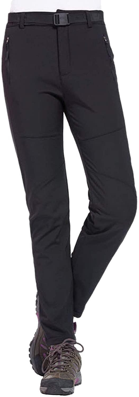 Yanbyn Women's Outdoor Hiking Pants Sportswear Water Resistant Softshell Fleece Snow Pants