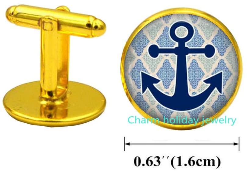 Anchor Anchor Jewelry Cufflinks Wearable Art Cuff Links Charm Nautical Cuff Links Charm-#97