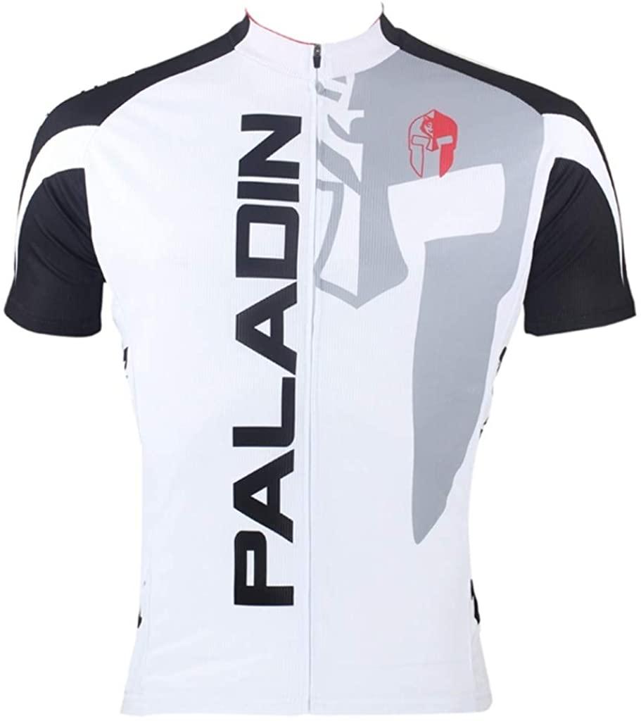 Paladinsport Men's White Short Sleeve Cycling Jersey Full Zip Breathable Polyester Bike Shirt