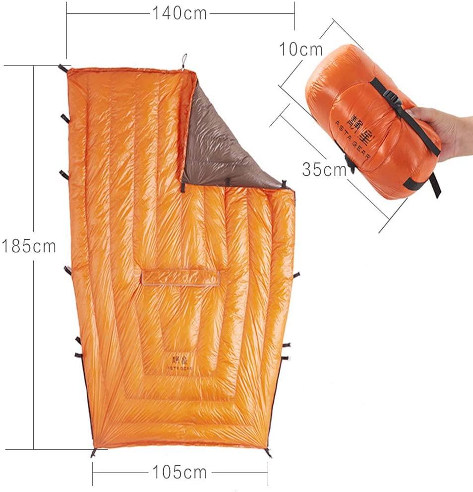 ASTA GEAR 20D Sleeping Quilts Hammock Underquilt 95% White Duck Down Mummy Sleeping Bag Blanket Mat