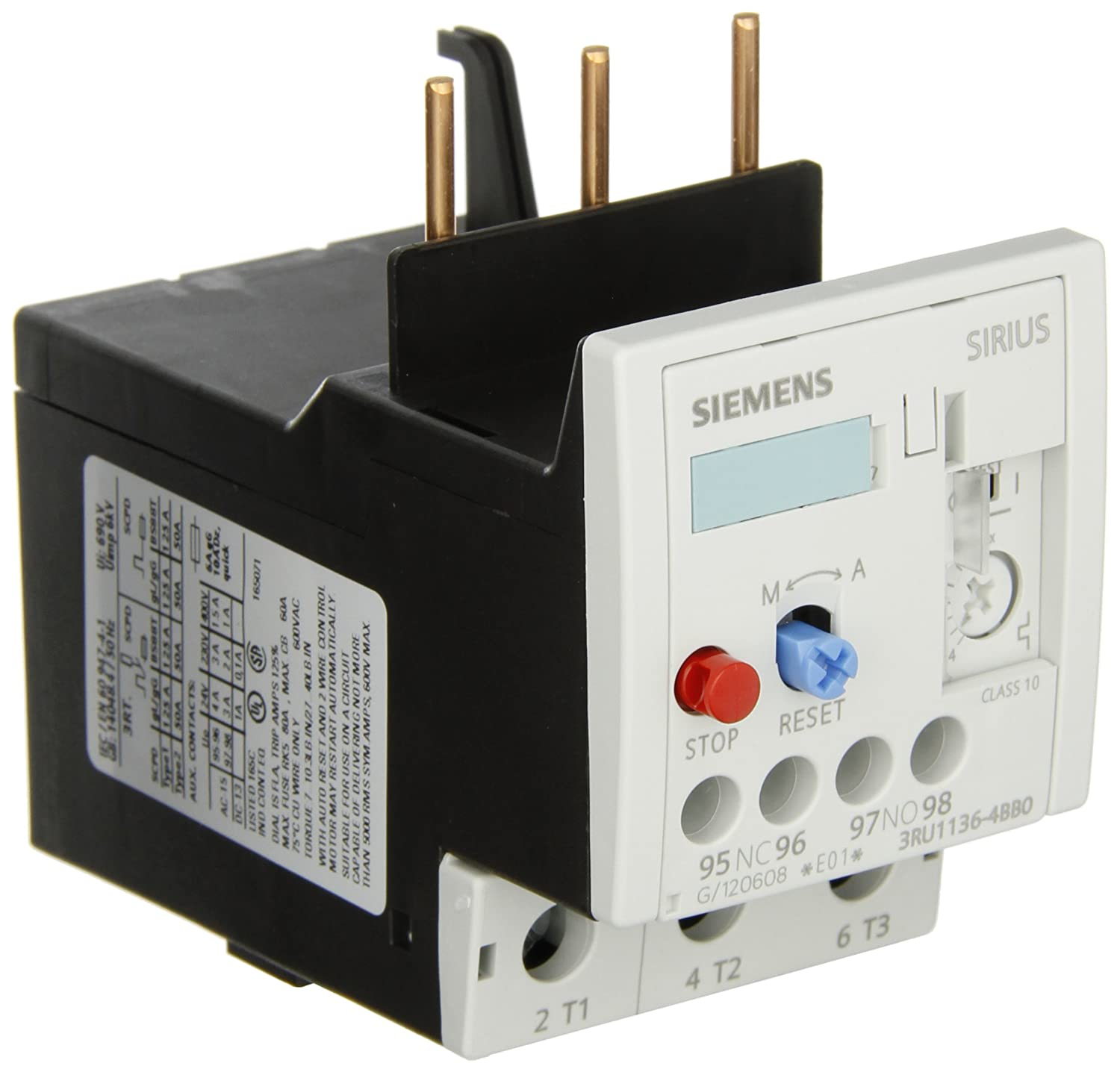 Siemens 3RU11 36-4BB0 Thermal Overload Relay, For Mounting Onto Contactor, Size S2, 14-20A Setting Range