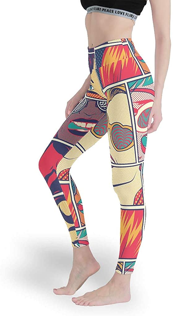 Nine Points Girls Fashion Leggings Woman with Glasses Printed Ankle Legging Fits Lightweight for Lounging