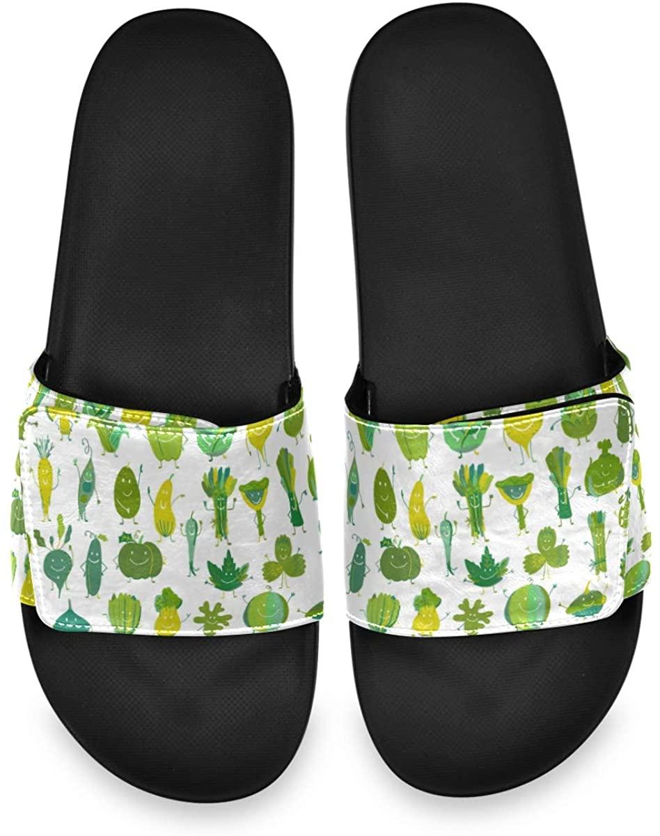 All agree Funny Smiling Vegetables Men's Summer Sandals Slide House Adjustable Slippers Thong Boys