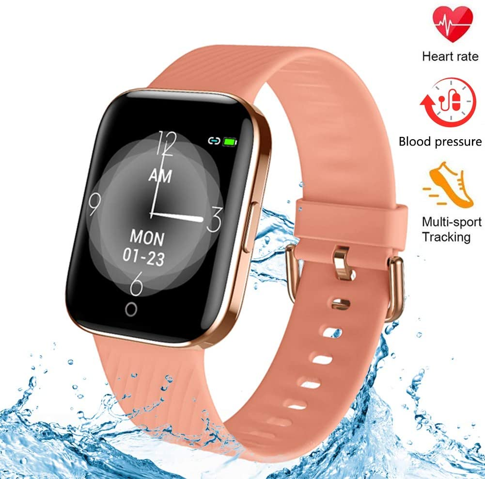 kingkok Fitness Tracker with Blood Pressure Heart Rate Monitor, IP68 Waterproof Pedometer Watch with Calorie Step Counter for Walking, 17 Sports Modes Activity Tracker for Women Men Kids and Gift