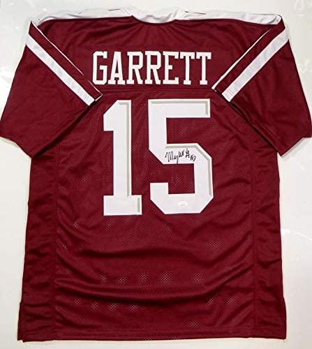 Myles Garrett Autographed Maroon College Style Jersey- JSA Witnessed Auth 5