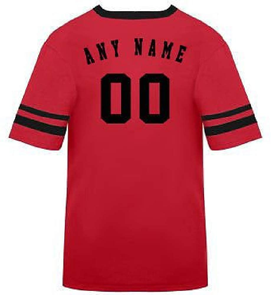 Customized Adult Large Red/Black Striped Sleeves (Personalized Name & Number on Back)