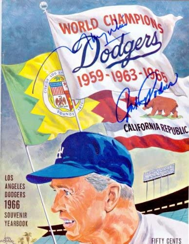 Autograph Warehouse 80283 1966 Los Angeles Dodgers Yearbook Autographed By Maury Wills And Johnny Podres