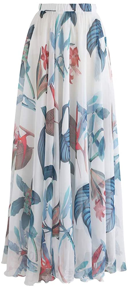 Chicwish Women's Tropical Floral Watercolor White Flower Maxi Floral Chiffon Slip Skirt