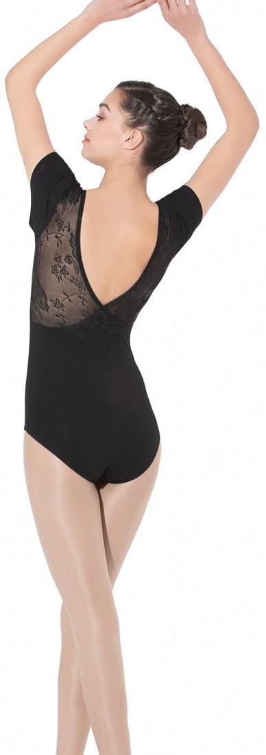 Limiles Women's Ballet Dance Short Sleeve Lace V Back Leotards