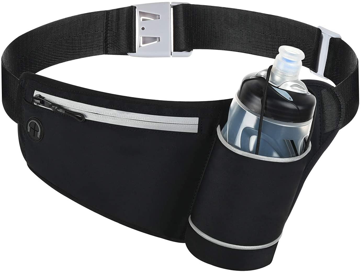 ChangYou Running Waist Pack Belt Bag with Water Bottle Holder Reflective Fanny Pack for Jogging Riding Walking