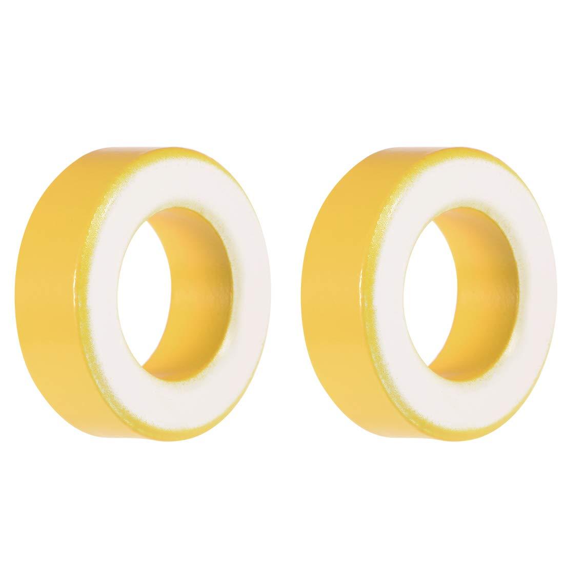 uxcell Toroid Core, Ferrite Chokes Ring Iron Powder Inductor Ferrite Rings, Yellow White 2pcs, 19.5 x 33.5 x 11.1mm