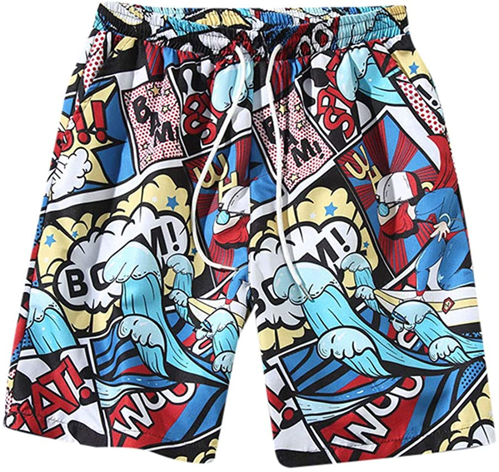GREFER Personality Graphic Printed Shorts - Summer Fashion Athletic Shorts - Casual Elastic Waist Pants with Pockets