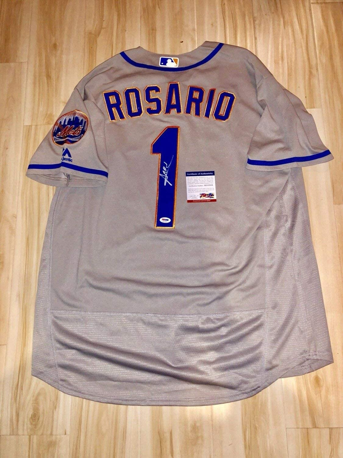Amed Rosario Autographed Signed Hand New York Mets Jersey PSA DNA Cert