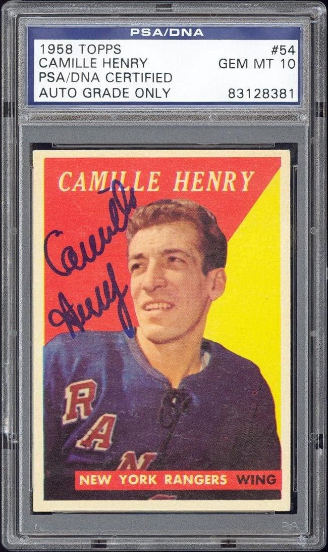 1958 Topps #54 Camille Henry - Autograph/Signed - 10 Gem Mint - PSA/DNA Certified - Hockey Slabbed Vintage Cards