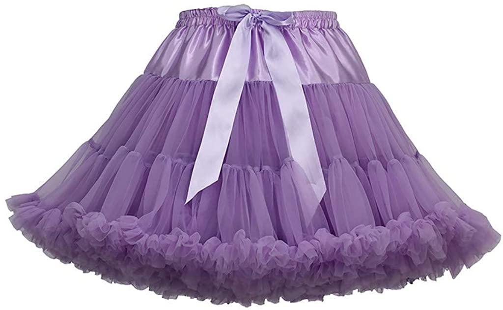 POQOQ Ballet Bubble Skirt Women's 1950s Vintage Tutu Petticoat (26 Colors) Free Size D