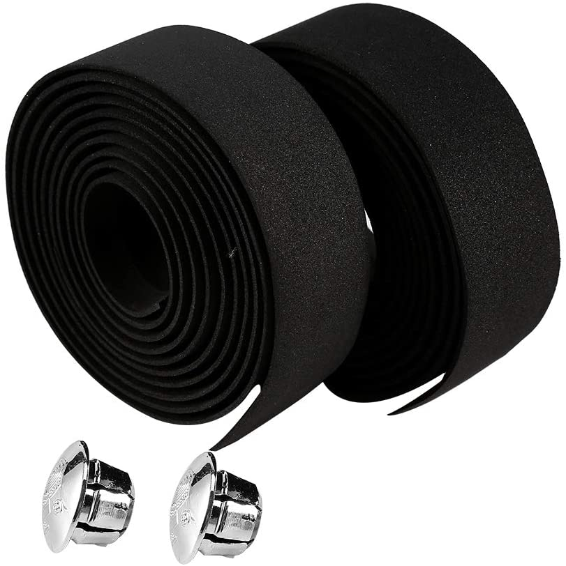Alomejor Bicycle Handlebar Tape Cycling Handle Wraps Skid-Proof Strap with Bar Plugs for Road Bike Mountain Bike