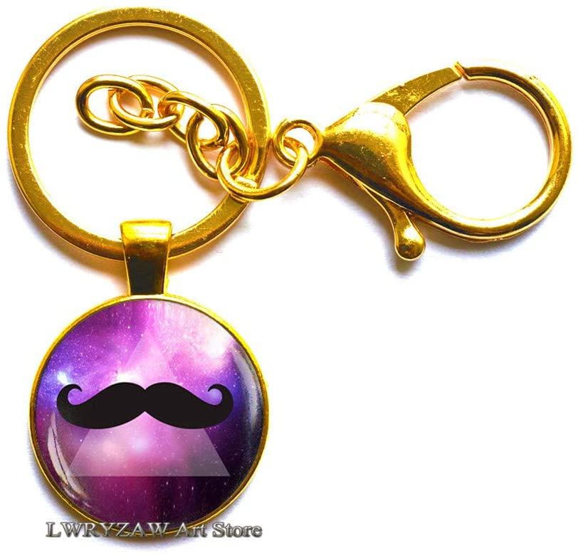 Hipster Mustache Keychain, Hipster Men's Jewelry, Mustache Key Ring, Mustache Jewelry, Space Galaxy Nebula Mustache Keychain,M136