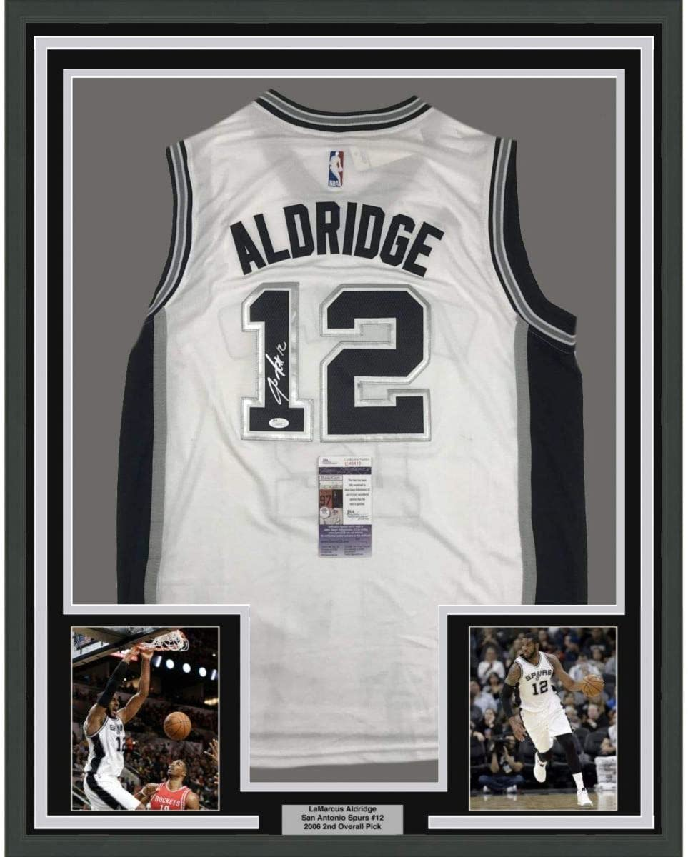 Framed Autographed/Signed LaMarcus Aldridge 33x42 San Antonio White Basketball Jersey JSA COA