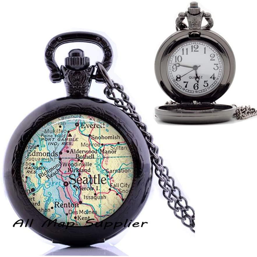 AllMapsupplier Fashion Pocket Watch Necklace,Seattle map Pendant,Seattle Pendant Seattle map Pocket Watch Necklace,Seattle Pocket Watch Necklace,map Jewelry,A0245