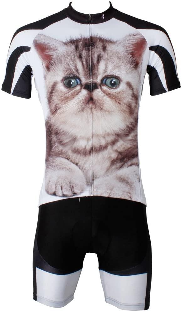 PaladinSport 3D Animals Cat Men's White Short Sleeve Bike Clothing