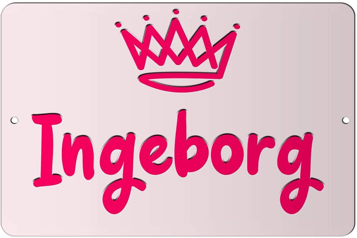Makoroni - Ingeborg Girl Female Name 12x18 inc Aluminum Decorative Wall Street Sign
