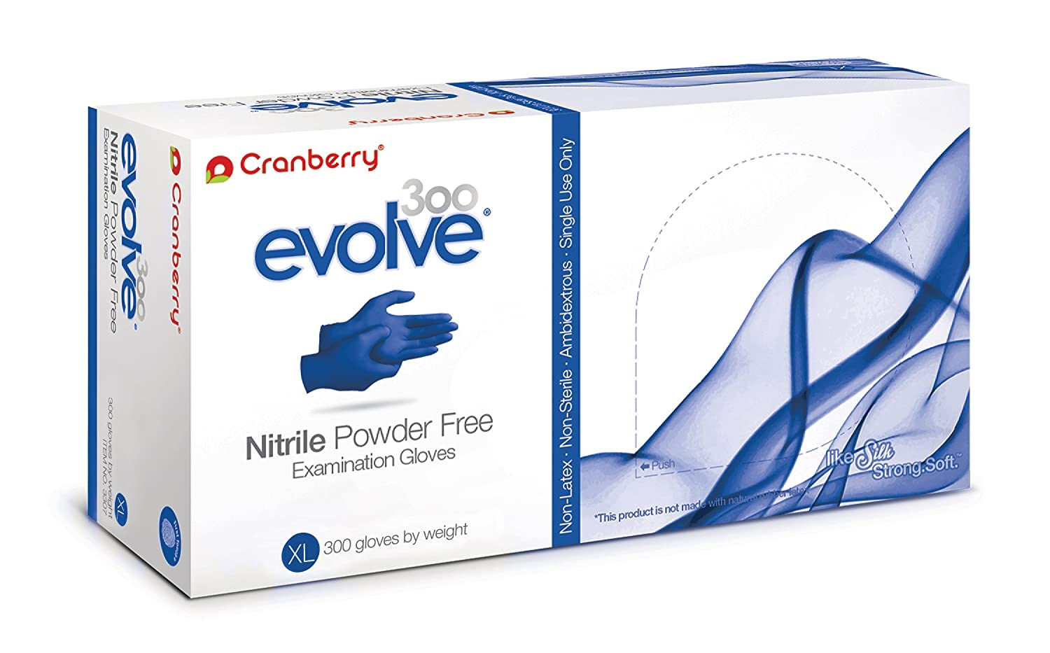 Cranberry USA CR3309case Evolve Powder Free Exam Gloves, X-Large, Nitrile, Beaded-Cuff, Blue (Pack of 3000)