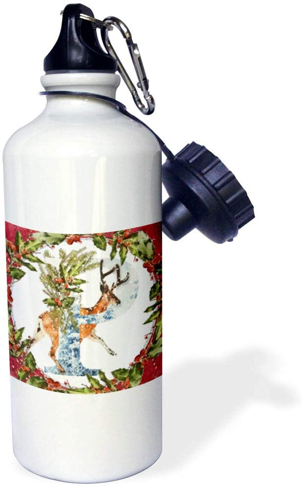 3dRose Anne Marie Baugh - Christmas - Monogram P Christmas Deer Buck Decorative Initial - 21 oz Sports Water Bottle (wb_325478_1)